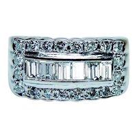 Vintage Diamond Baguette Ring Band 14K White Gold High Quality