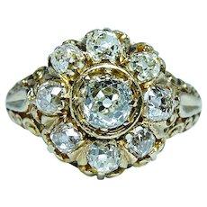 Victorian Antique 1.94ct Old Miner Mine Cushion Diamond Ring 18K Gold circa 1870s