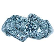Vintage 14K White Gold Colorless Diamond Ring circa 1940