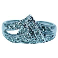 Vintage 14K White Gold Diamond Ring Band Estate