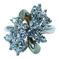 Vintage Diamond 14K Gold Cocktail Cluster Waterfall Ring 1.40ct VS/SI1-HI Estate