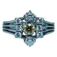 Vintage 14K White Gold Fancy Yellow Diamond Ring Estate