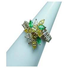 Vintage 14K Gold Canary Yellow Marquise Diamond Emerald Ring Estate