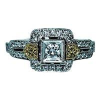 Diamond Halo Ring 18K White Gold Estate Yellow Diamonds