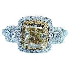 GIA Fancy Yellow Canary Cushion  1.23ct center Diamond Halo Ring 18K White Gold