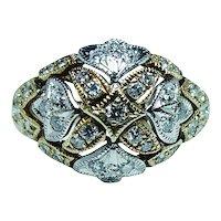 Vintage Diamond Ring 18K White Yellow Gold 9.7gr HEAVY Estate Jewelry