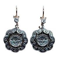 Victorian Old Mine cut Diamond Lotus Earrings 14K Gold Silver Long Dangle