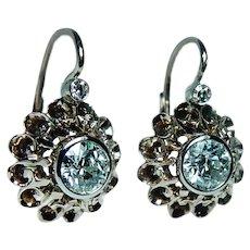 Victorian Old European Diamond Earrings 18K Rose Gold French Backs Dormeuses