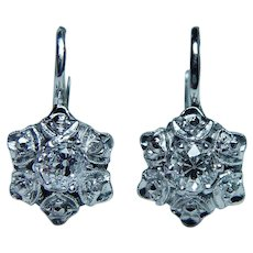 Art Deco Old European Diamond Earrings 18K White Gold DORMEUSES French Back