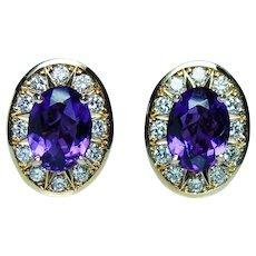 Vintage Amethyst Diamond 18K Gold Earrings Designer Signed