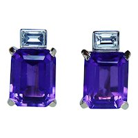 H. Stern Amethyst Emerald cut Diamond Earrings 18K Gold Platinum