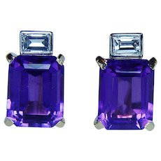 H. Stern Amethyst Emerald cut Diamond Earrings 18K Gold Platinum