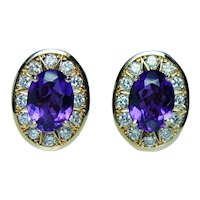 Amethyst Diamond 18K Gold Earrings Designer Signed