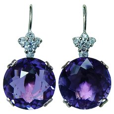Vintage 14K Rose Gold Old European Diamond Amethyst Earrings Estate 21ct Large