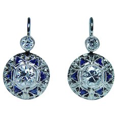 Art Deco Old European Diamond French Sapphire Earrings 18K White Gold
