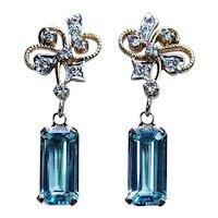 Vintage 8ct Aquamarine Diamond Dangling Earrings 18K 14K Gold Estate