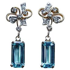 Vintage 8ct Aquamarine Diamond Dangling Earrings 18K 14K Gold Estate