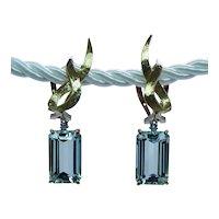 Vintage Aquamarine Diamond Dangling Earrings 18K Gold Estate