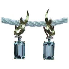 Vintage Aquamarine Diamond Dangling Earrings 18K Gold Estate