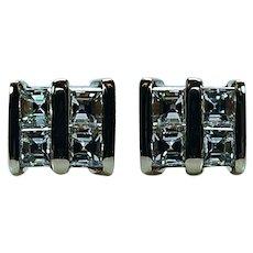 Vintage Asscher Diamond Earrings Studs 14K Gold Estate VVS-GH