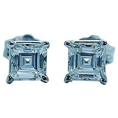 Natural Asscher Diamond Earrings Stud 14K 18K White Gold Estate .90ct VS