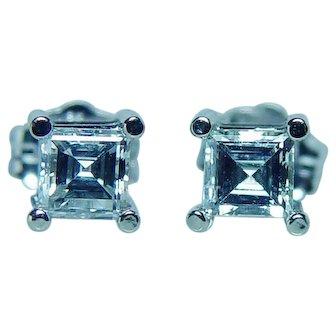 Vintage Asscher Diamond Earrings 18K White Gold Estate Solitaire Studs VVS-G