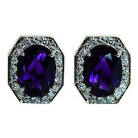 Vintage Amethyst Diamond 14K Gold Earrings Designer Signed Estate Large