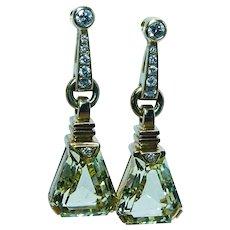 Designer Hans D Krieger 18K Gold Diamond Yellow Beryl Long Dangle Earrings
