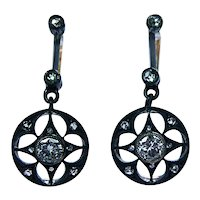 Victorian Old European Rose cut Diamond Earrings 18K Gold Dormeuses French