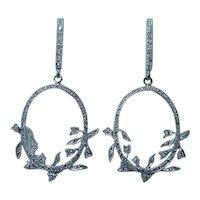 Beverley K Diamond 18K White Gold Dangle Earrings Designer
