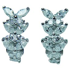 Marquise Diamond Butterfly 18K White Gold Earrings Designer