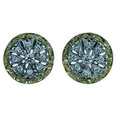 18K Gold Diamond Button Earrings Omega Back Estate Italy