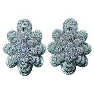 Vintage 3.5ct Diamond Earrings 14K White Gold Large Estate Omega