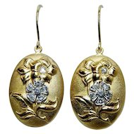 Art Nouveau Diamond Flower Dangle Earrings 10K Gold Estate