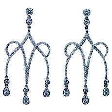 18K White Gold Diamond Chandelier Long Dangle Earrings Designer 1.7ct