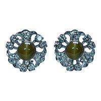Chrysoberyl Cats Eye Diamond 18K 14K White Gold Earrings Rare Estate
