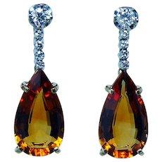 H. Stern 18K Gold Platinum Diamond Citrine Earrings Vintage Designer