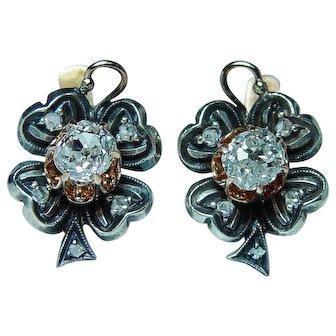 Georgian Antique Old Miner Mine Diamond Earrings 18K Gold Estate European