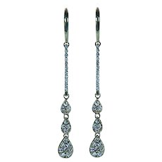 "Diamond Dangle Earrings 14K Gold 1.75"" Long Estate"