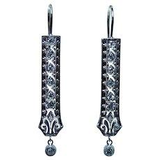 ART DECO Platinum Old European Diamond Colorless Earrings Estate