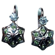 Russian Old Mine Diamond Demantoid Garnet Earrings 14K Rose Gold