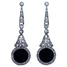 Art Deco Antique Old European Rose Diamond Platinum Onyx Earrings Estate 1-5/8""