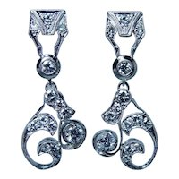 Platinum 1.9ct Diamond Colorless Earrings Large Dangle