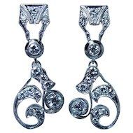 Platinum 1.9ct Diamond Colorless Earrings Large Dangle