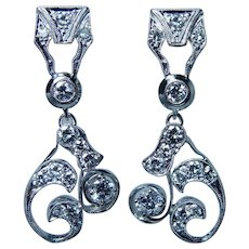 Vintage Platinum Diamond Colorless Earrings Large Dangle 1.9ct Estate