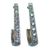 14K Gold Diamond Earrings Long