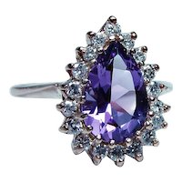 14K Rose Gold Amethyst Diamond Ring Large Size 10