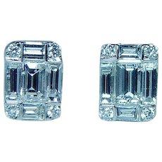 Vintage Baguette Round Diamond Stud Earrings 14K White Gold Estate