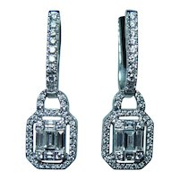 Diamond Baguette Asscher Round Dangle Earrings 14K White Gold 1ct VS-G
