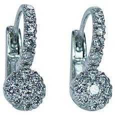 Vintage Diamond Earrings 18K White Gold French Backs Estate